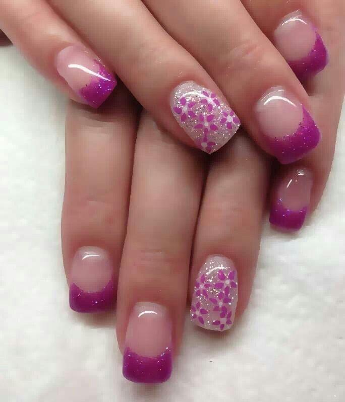 pink glitter tip off set by pink flowers gel nails nails. Black Bedroom Furniture Sets. Home Design Ideas