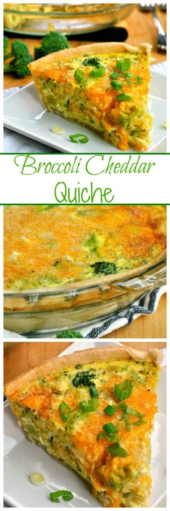 Broccoli Cheddar Quiche is an easy and hearty breakfast! Cheddar cheese, broccoli, and sauteed onions make this a great start to your day!