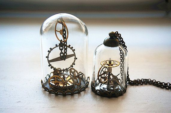 Christmas gift Steampunk terrarium Watch Gears in Glass Dome Necklace Vintage watch movement bronze chain pendant custom gift