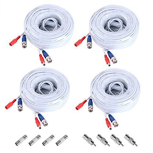 Sannce 4 Packed Special Design 30M / 100 Feet BNC Video Power Cable For CCTV Camera DVR Security System