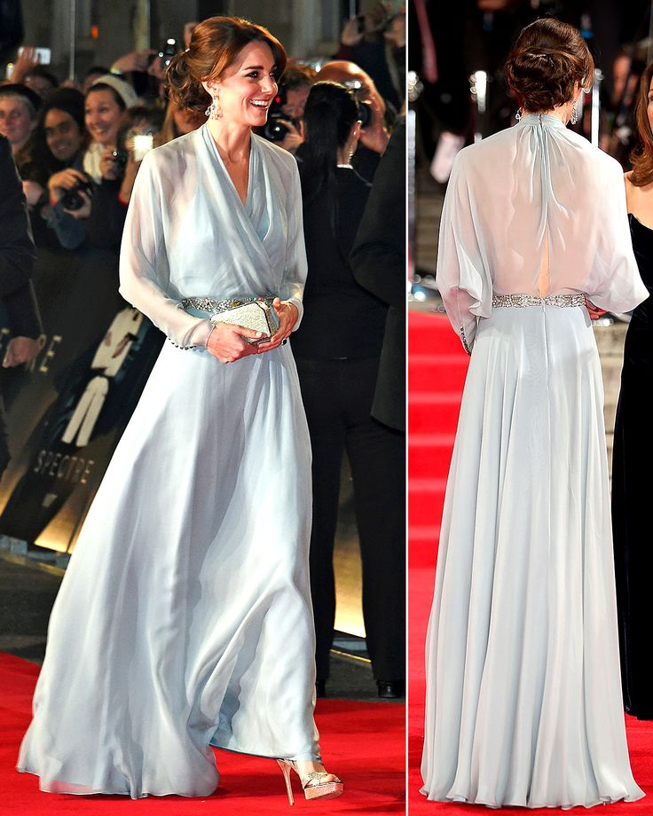 Kate Middleton dared to bare in a see-through blue dress at the Royal Film Performance of Spectre on Monday, Oct. 26, at London's Royal Albert Hall; see her sheer dress from every angle here!