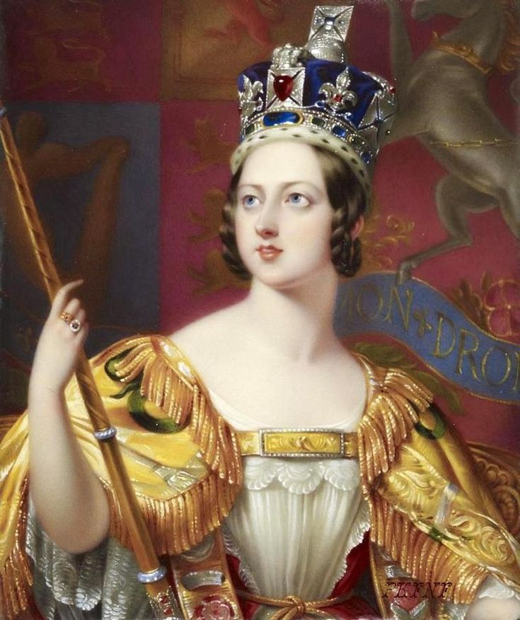 """This state portrait of Queen Victoria by George Hayter (detail), shows her wearing the new Imperial State Crown """"expressly made for the  solemnity of the Coronation"""" by Rundell, Bridge & Co., with 3,093 gems. George Hayter - http://www.gac. culture.gov.uk/ search/Object.asp?object_key=29134 - Public Domain"""