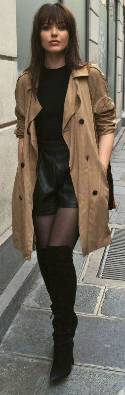 Thigh high boots + classic style trench + modern and classy style + Kristina Bazan + boots + pair of leather mini shorts + simple black tee.   Brands not specified.