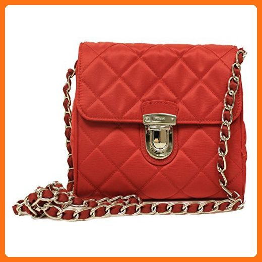 0e5b04a2293bc9 Prada BP0623 Rosso Red Tessuto Impuntu Pattina Nylon and Leather Chain  Crossbody Bag - Shoulder bags (*Amazon Partn… | Gucci - coach - prada ,  handbags | ...
