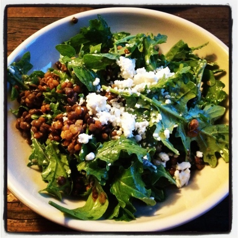 Arugula salad with french lentils, goat cheese and lemon juice!