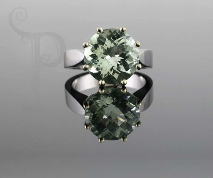 Handmade 9ct White Gold Ring, Set With a Round Cut Prasiolite (Green Quartz)