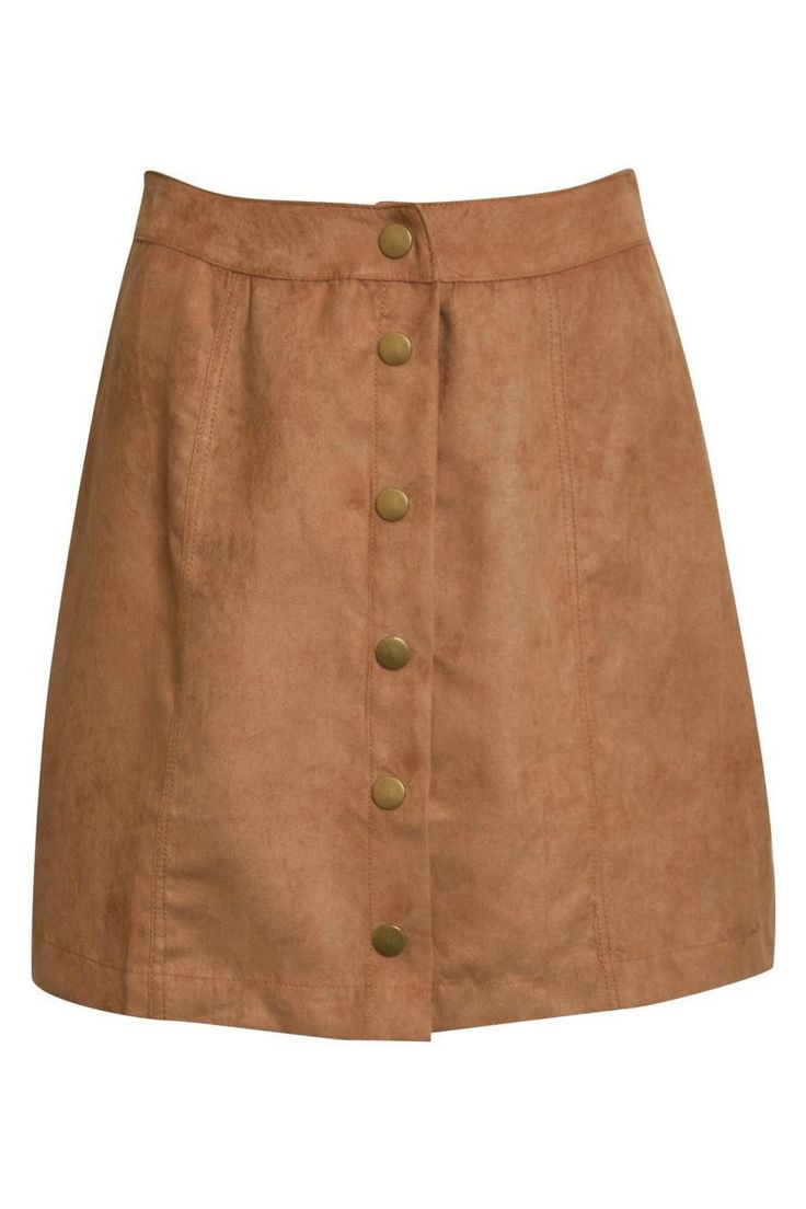 Leonora Faux Seude Front Button Mini Skirt in Tan Brown FRONT