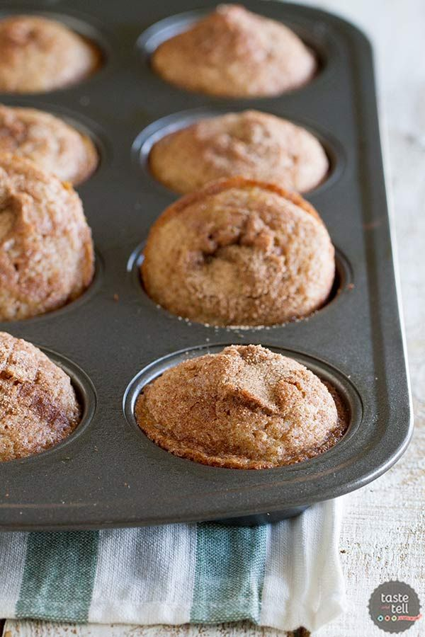 A family favorite, these Cinnamon Muffins are tender and sweet and filled with lots of cinnamon flavor.: