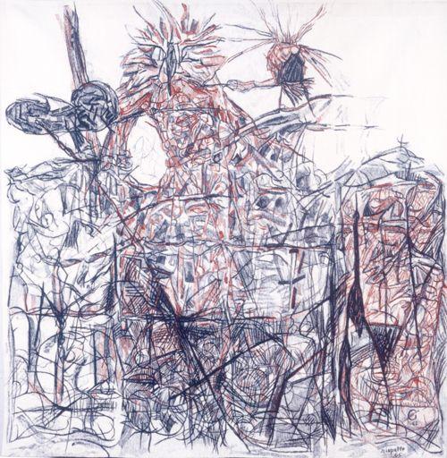 Jean Paul Riopelle, Les Oiseaux, 1965, tapisserie terminée en 1968 à la manufacture des Gobelins, Paris, 237 x 237 cm