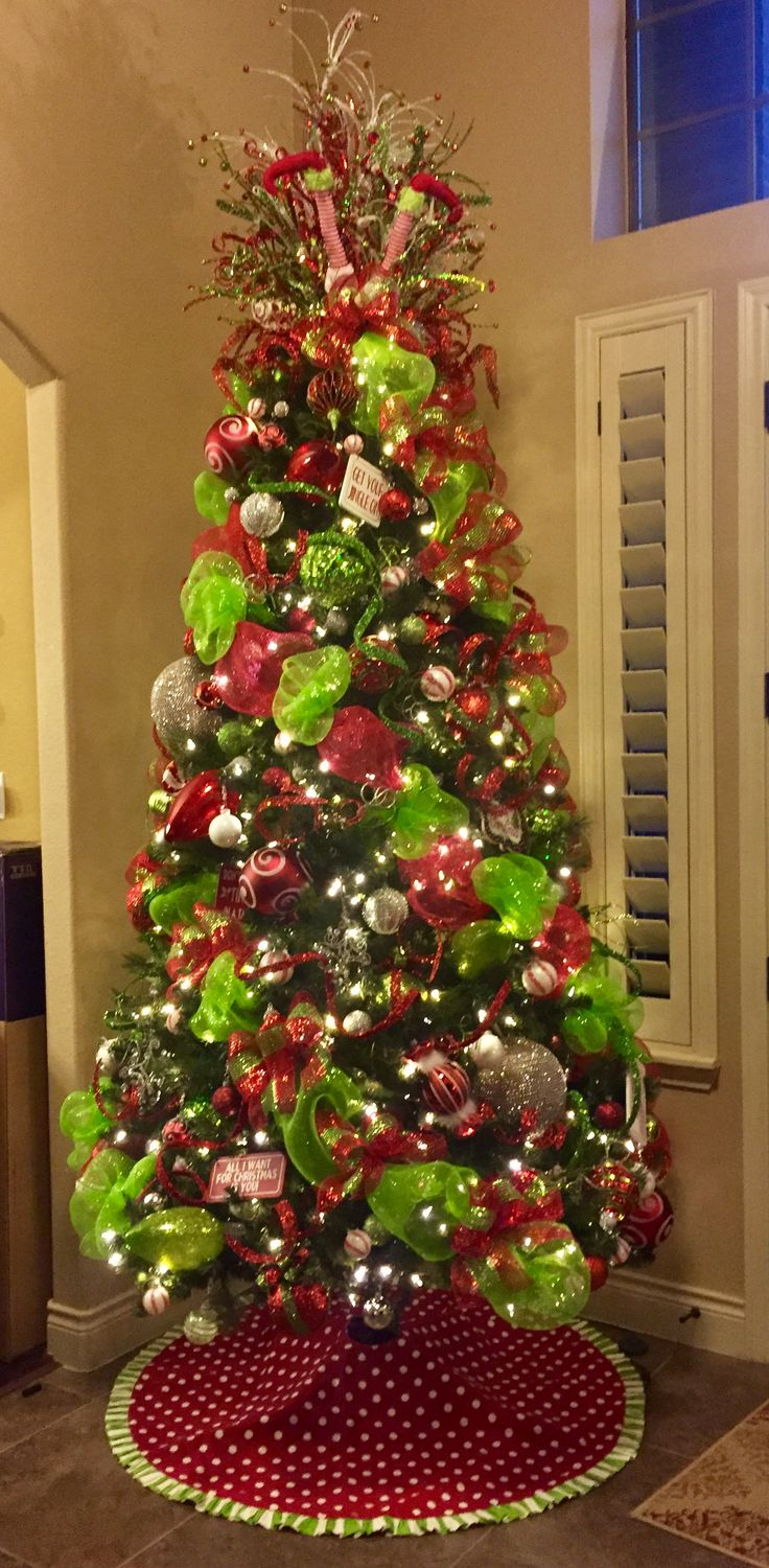 red and green whimsical christmas tree