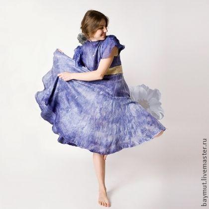 """Валяное платье солнцеклеш """"Синяя орхидея"""" - шерстяное платье,валяное платье"""