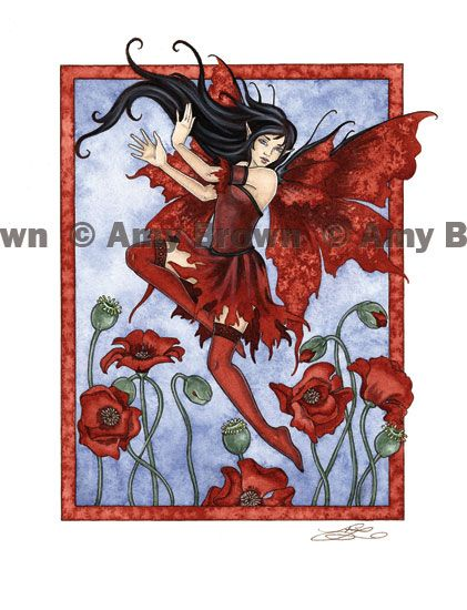 PRINTS-OPEN EDITION - Flower Faeries - Amy Brown Fairy Art - The Official Gallery (August Red Poppy)