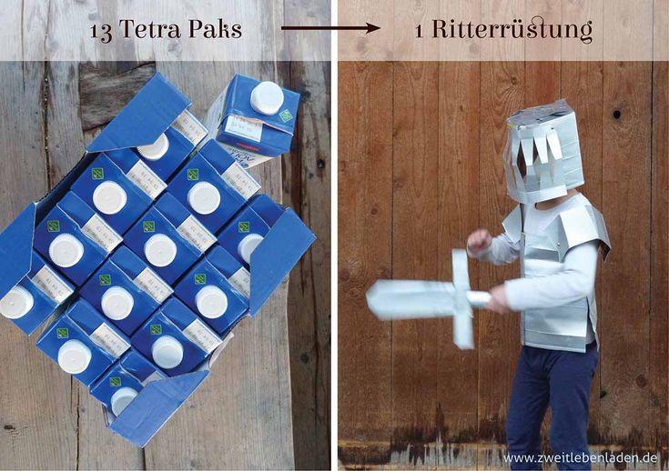 Mit dieser einfachen Anleitung kannst du in weniger als einer Stunde eine Ritterrüstung für Kinder basteln. Aus 13 Tetra Paks entsteht ein Ritterhelm, ein Schwert und ein Brustpanzer. So hast du schnell ein Kostüm für Fasching oder einen Ritter-Kindergeburtstag. Und ein tolles Upcycling-Projekt ist es auch.