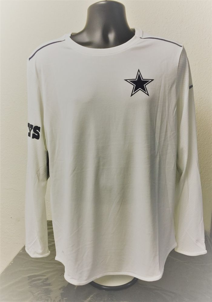7bf9ec31a Cowboys Long Sleeve Nike On-Field White Shirt Dri-Fit Breathe - Size Mens  Medium  Nike  DallasCowboys