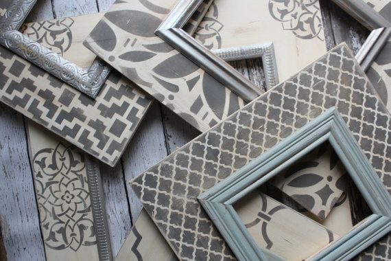 Distressed set 5 Frames in Silver and Vintage by deltagirlframes