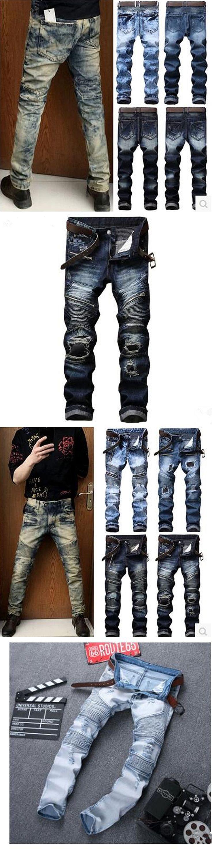 Men Jeans Brand Frayed Destroyed Slim Retro Cowboy Motorcycle Slacks Snowflake Spot Coating Pure Cotton Pants For Large Size