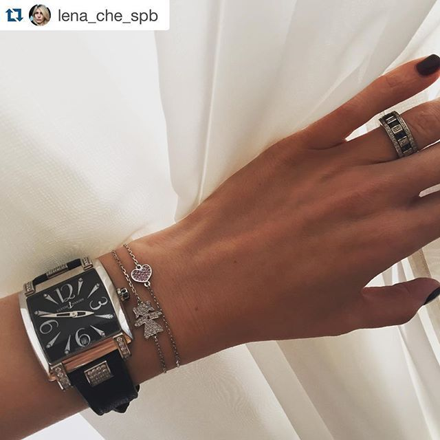 Белое золото, белые бриллианты, розовые сапфиры и рубин. / White gold, white diamonds, pink sapphires and ruby. #Repost @lena_che_spb with @repostapp. ・・・ Ура! Ура! Теперь и у меня есть такие милые браслетики от @geomajewelry 💎💕💎