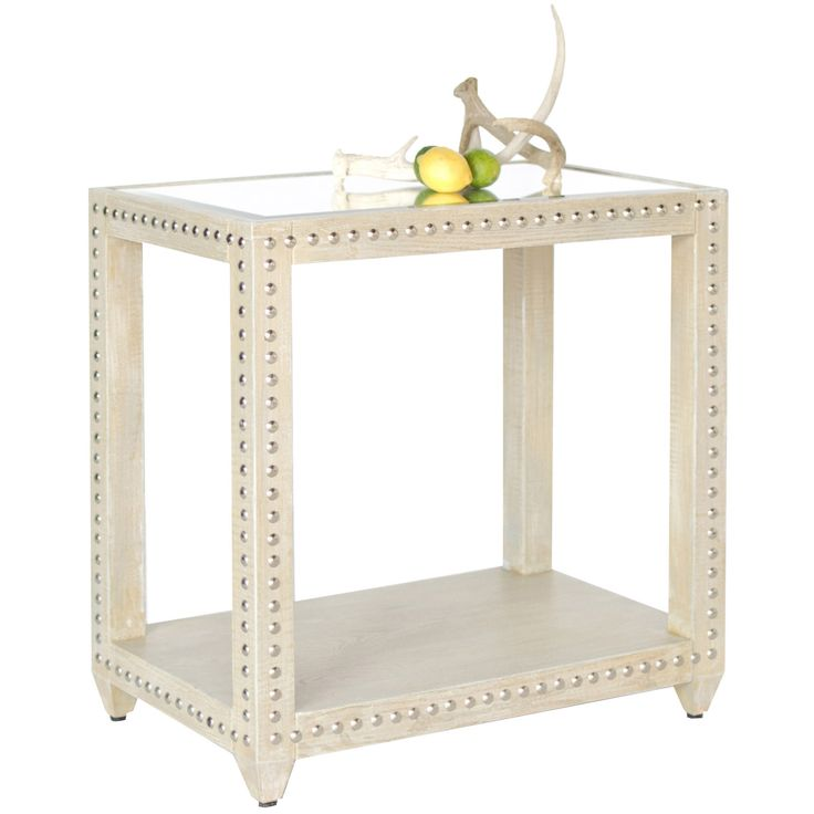 Worlds Away Olivia Limed Oak Studded Side Table @Zinc_Door