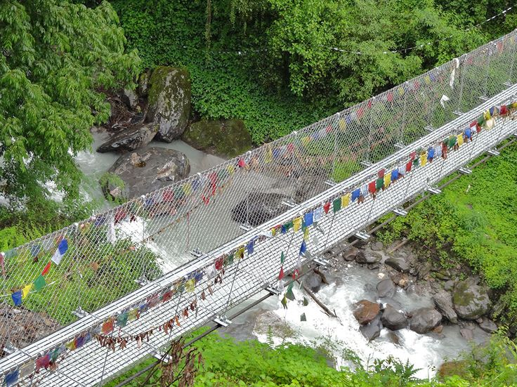 A swing bridge on the Annapurna Sanctuary trek.   #nepal #himalayas #hikingnepal