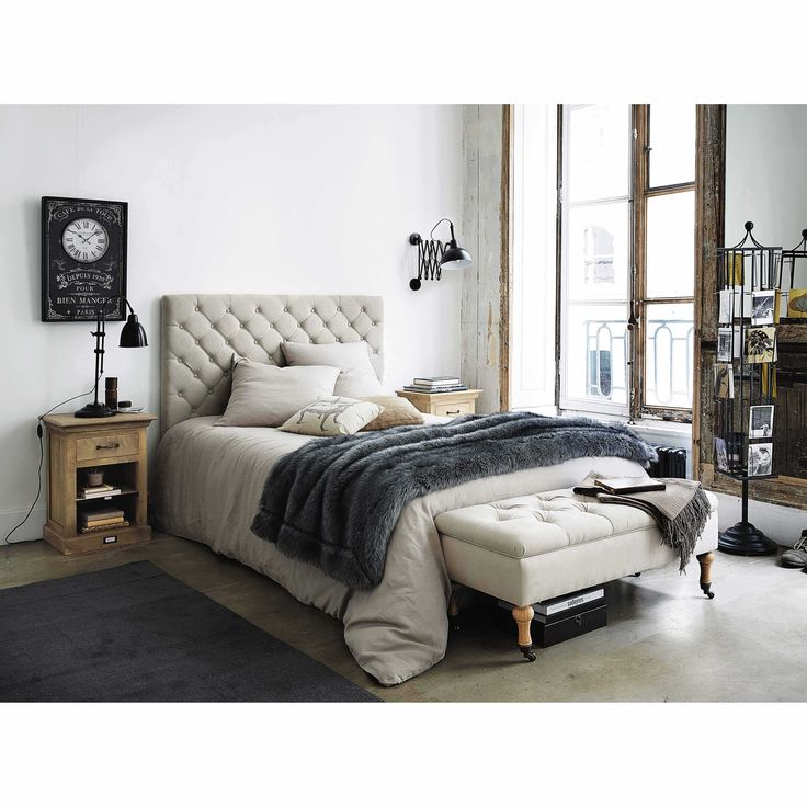 t te de lit capitonn e en lin l 140 cm t te de lit. Black Bedroom Furniture Sets. Home Design Ideas