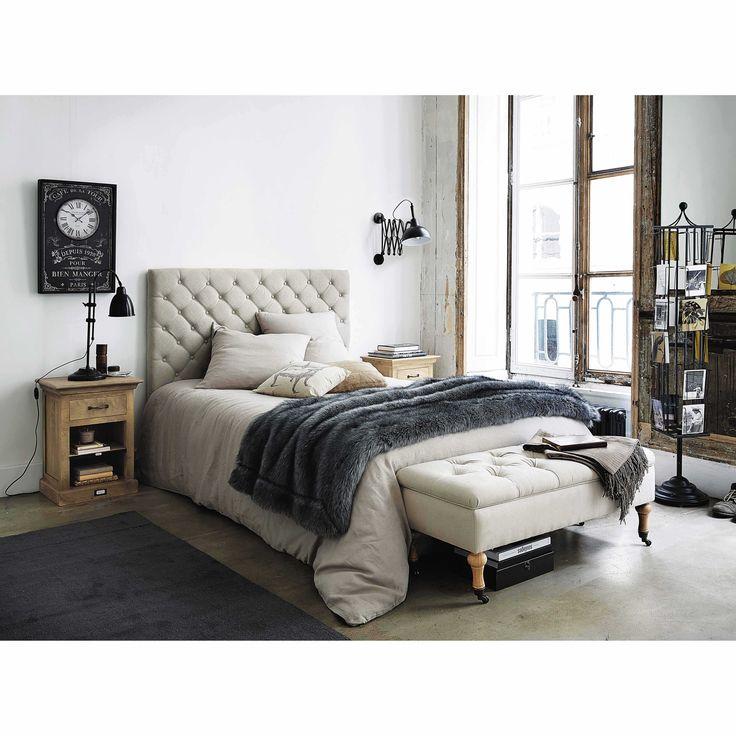 t te de lit capitonn e vintage en lin l 140 cm chesterfield maisons du monde d co. Black Bedroom Furniture Sets. Home Design Ideas