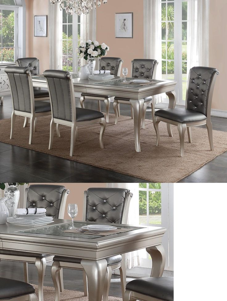 Dining Sets 107578: Zeyna 7Pc Platinum Silver Finish Wood Glass Dining Table Set Gray Leather Chairs -> BUY IT NOW ONLY: $1079.1 on eBay!
