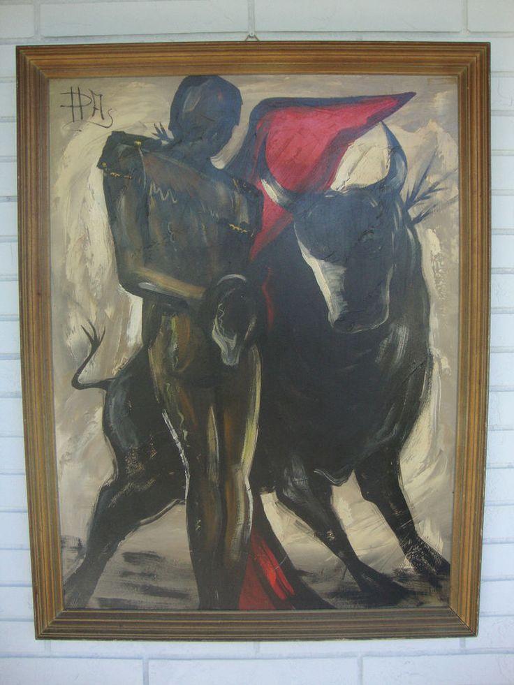"""Bullfighter Matador""""Mid Century Modern Signed Oil Painting"""