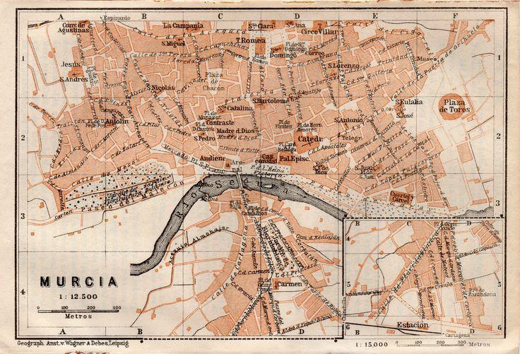 MAPA DE MURCIA ESPAÑA . MAPA BAEDEKER. ORIGINAL. AÑO 1898 GRABADO | eBay
