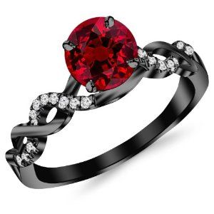 #splitshankhalo 0.88 Carat 14K Black Gold Twisting Infinity Gold and Diamond Split Shank Pave Set Diamond Engagement Ring with a 0.75 Carat Natural Ruby Center (Heirloom Quality) by Houston Diamond District - See more at: http://blackdiamondgemstone.com/jewelry/wedding-anniversary/engagement-rings/088-carat-14k-black-gold-twisting-infinity-gold-and-diamond-split-shank-pave-set-diamond-engagement-ring-with-a-075-carat-natural-ruby-center-heirloom-quality-com/#!prettyPhoto