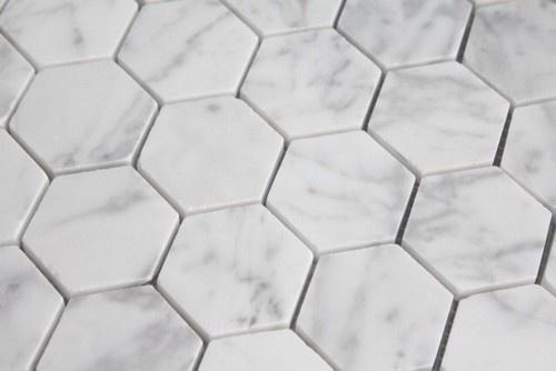 Carrara Marble Hexagon Mosaic Tiles - splashback