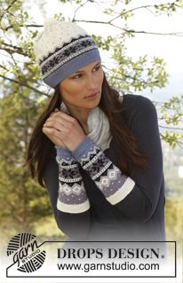 "Knitted DROPS wrist warmers and hat with Norwegian pattern in ""BabyAlpaca Silk"". ~ DROPS Design"