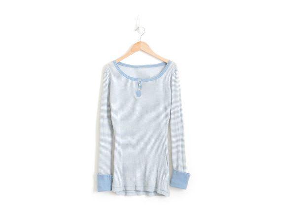 Thermal Shirt Blue Thermal Henley Pastel Goth Henley Shirt Womens Thermal Shirt Cotton Baby Blue Thermal Top Kawaii Clothing Small Medium