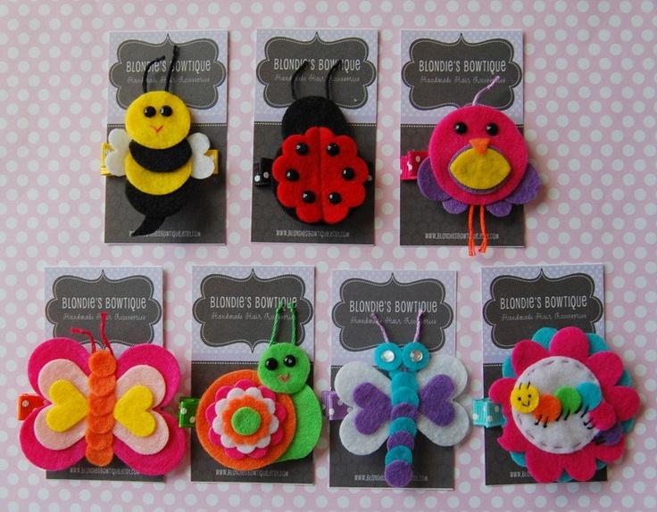 Hair Clips - Garden Bug Hair Clip Set - Felt Hair Clip Set - 7 Hair Clips - Insect Hair Clip Set - Hair Clip Gift Set. $25.00, via Etsy.