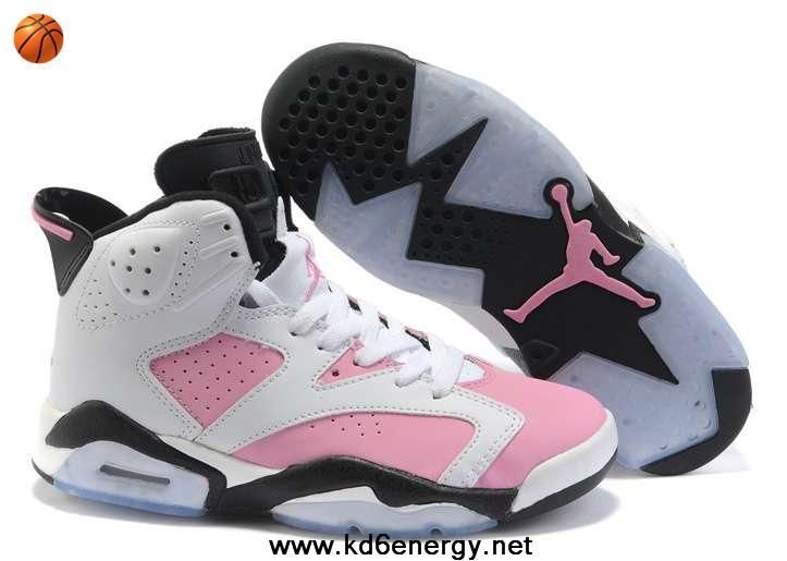 Women Air Jordan 6 White Black Pink On Sale