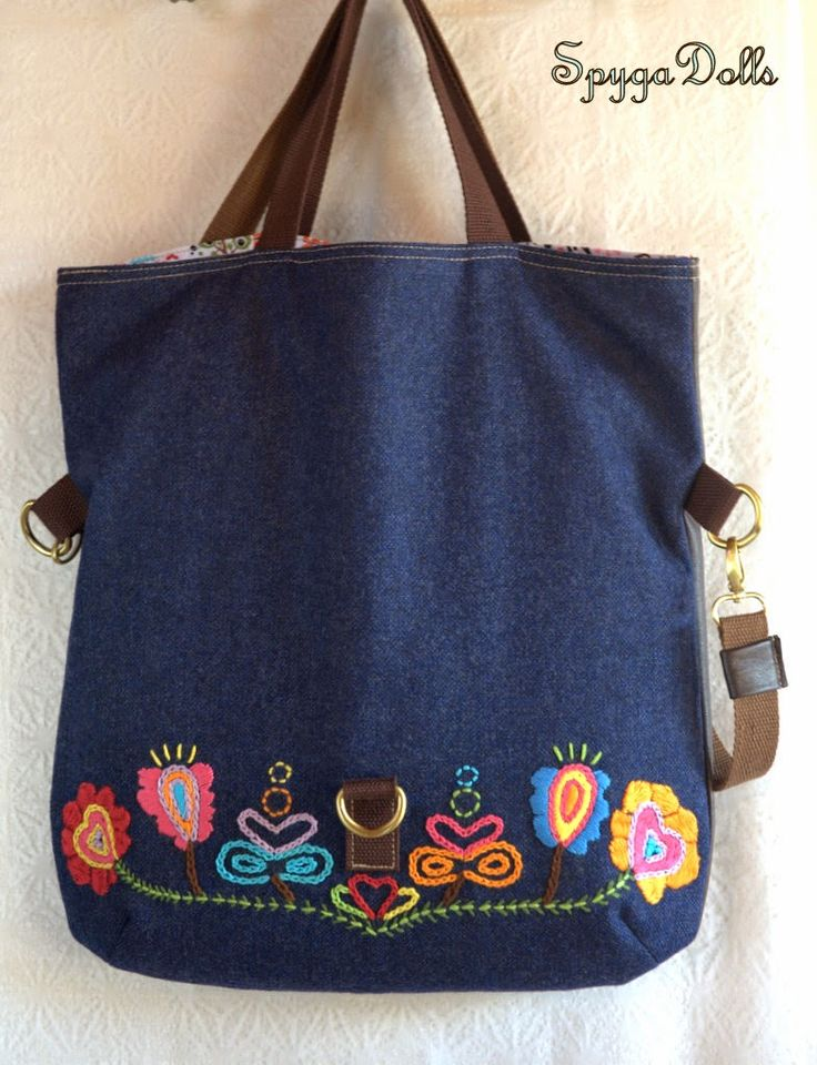 "Spygadolls Bags: Colección ""Blue Folk"", Fall-winter 14/15 (version 2 open, tote bag)"