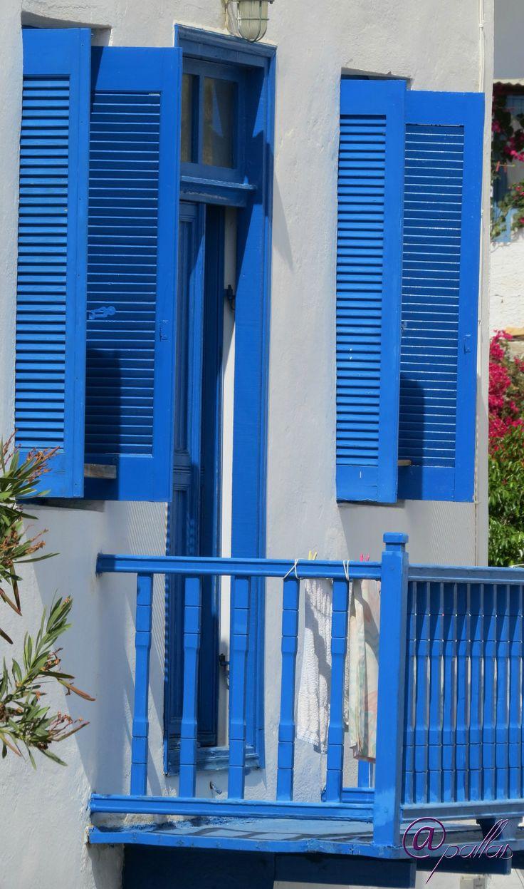 Greece Amorgos Xilikeratidi. Summer in Greek islands. Aegian sea. Blu balcony.