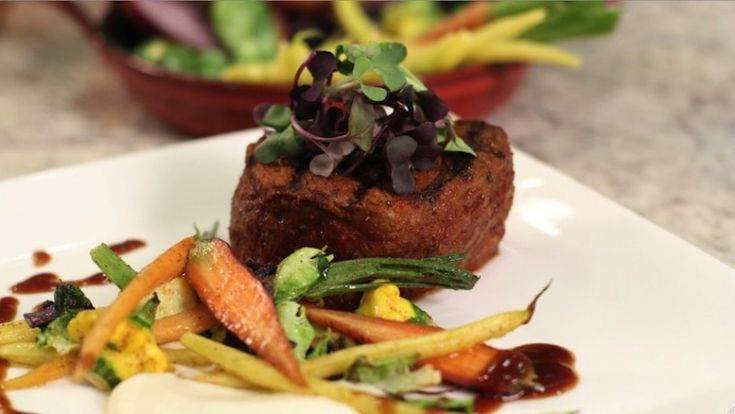 LBJ Rubbed Steak with Cauliflower Puree, Wax Beans and Patty Pans #recipe