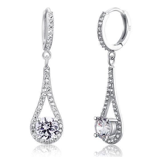Beautiful 925 Sterling Silver Earrings have been finished with high quality created diamonds. These earrings are the perfect addition for any formal dress, bridal party or social event. They are simply stunning. | eBay!