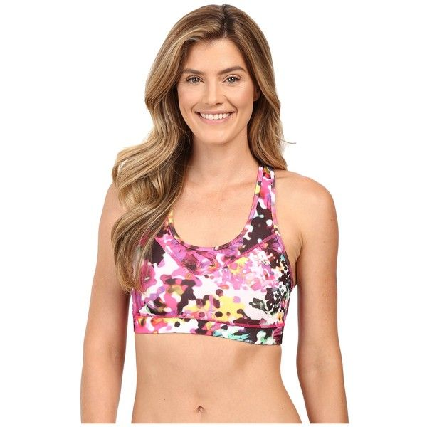 adidas TECHFIT Bra - Floral Explosion Print (Shock Pink Multicolor... ($30) ❤ liked on Polyvore featuring activewear, sports bras, sports bra, racer back sports bra, adidas sports bra, long sports bra and pink sportswear