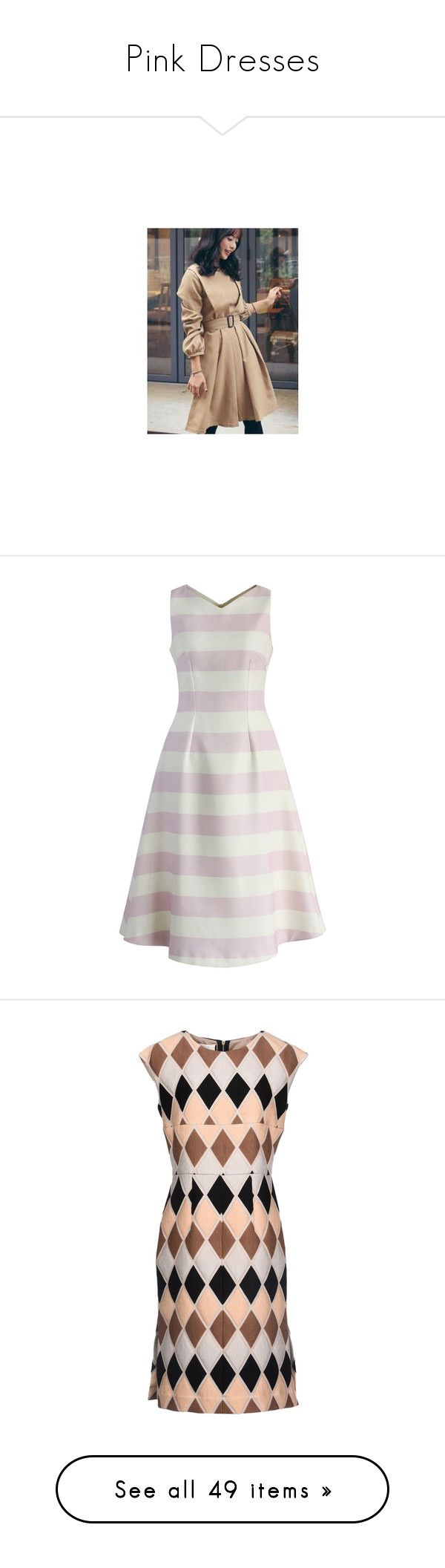 """""""Pink Dresses"""" by eternalfeatherfilm on Polyvore featuring dresses, women, pleated sleeve dress, layered dress, sleeved dresses, embellished dress, beige dress, chicwish, pink and fit-and-flare midi dresses"""