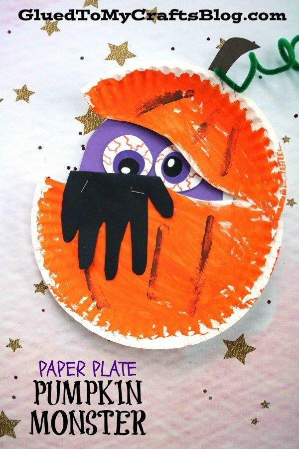 Paper Plate Pumpkin Monster Halloween Kid Craft Halloween