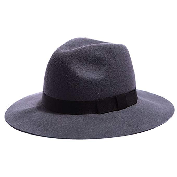 Zoylink Wool Wide Brim Trendy Flat Top Fedora Hat for Women (F ... 5fbf64681a69