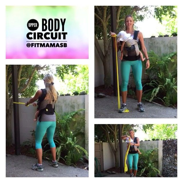 HTTP://FITMAMASB.COM/BABYWEARING-EXERCISES  Today's #babywearing resistance band #homeworkout!  Try this circuit, do exercises consecutively, repeat for 4 rounds. Bicep Curls 15 reps on each arm Standing Rows 20 reps Tricep extensions overhead 15 reps on each arm  Rest 1 minute  Repeat!  Email me at natasha@fitmamasb.com if you have any questions or want more exercise ideas for your own specific needs!!  #babywearingworkout #homeworkout