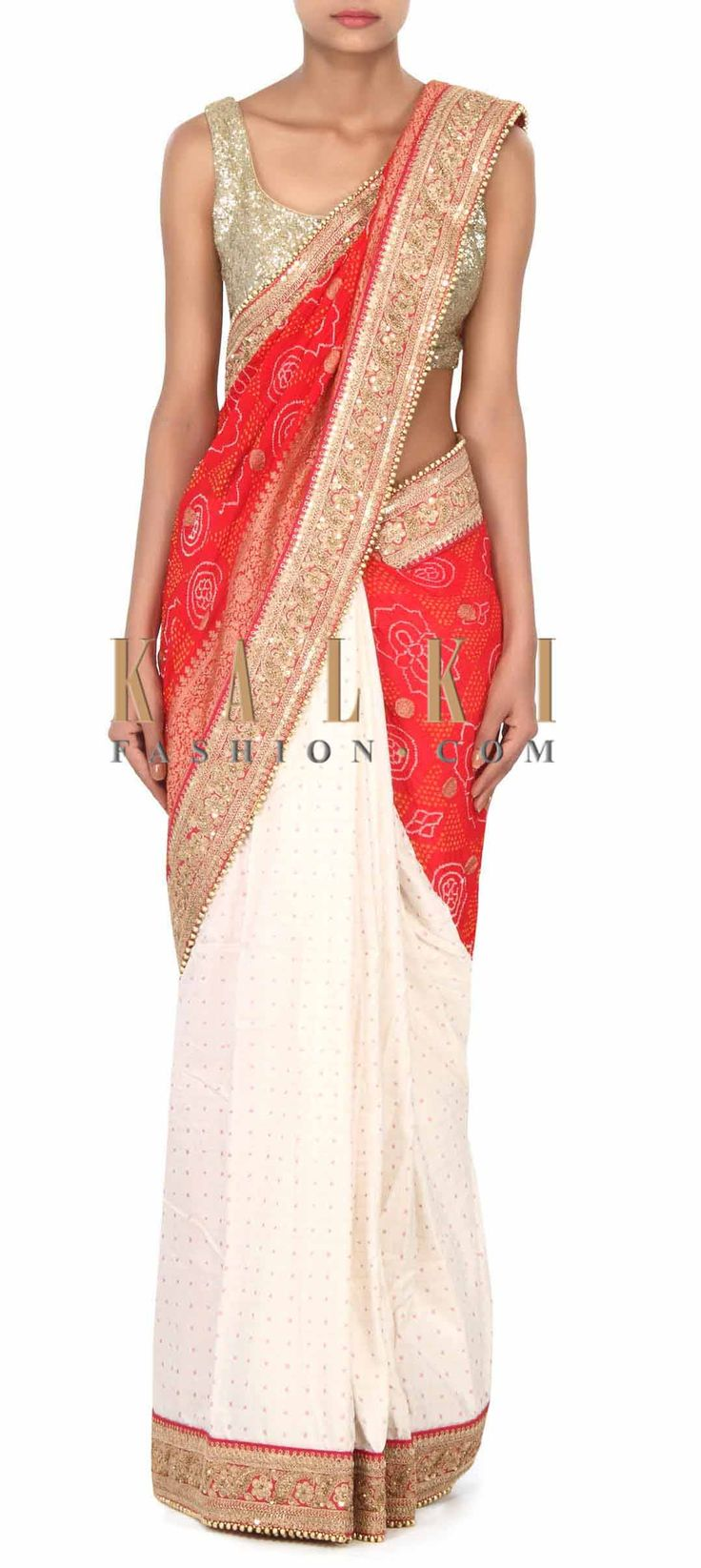 Buy this Half and half saree in bandhani with embellished border only on Kalki