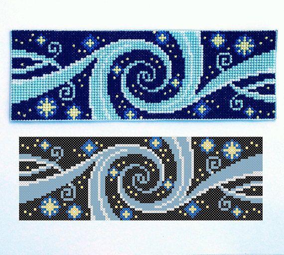 Galaxy Cross Stitch Pattern PDF, Starry Sky Bead Embroidery DIYs, Needlepoint, Yellow Stars, Blue Vortex, Black Background, Space, Astronomy