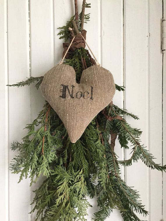 Grain Sack Heart NOEL By 1871Farmhouse On Etsy