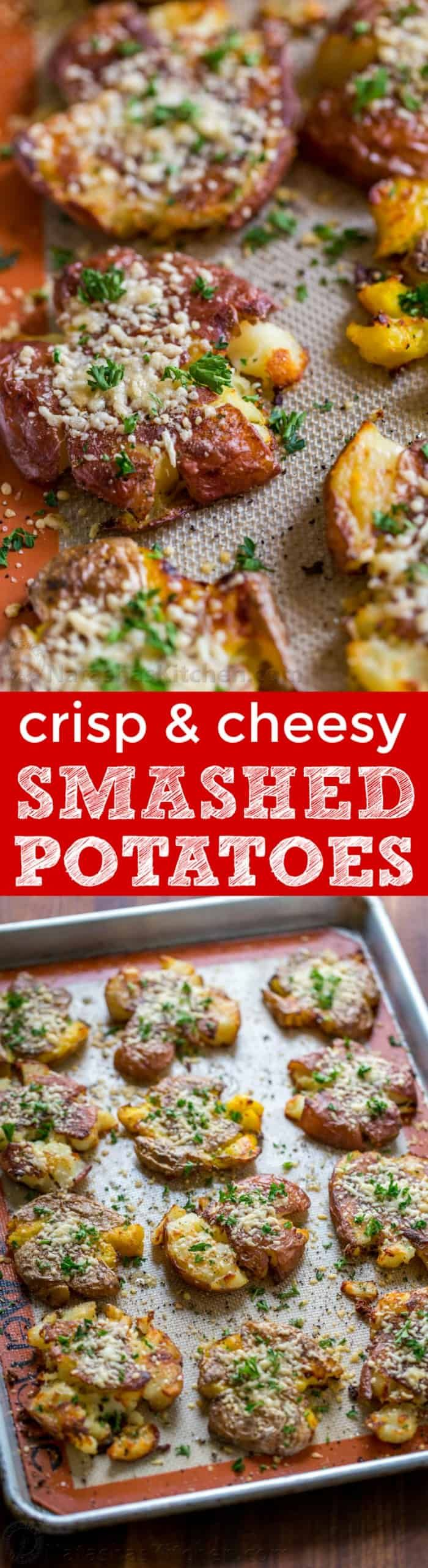 These cheesy smashed potatoes are crisp on the outside with a creamy center and irresistible cheesy crust. | natashaskitchen.com #smashedpotatoes #roastedpotatoes #redpotatoes