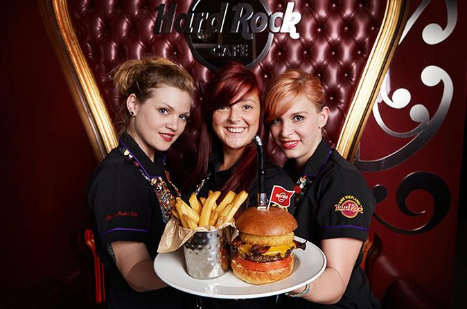 Skip the Line: Hard Rock Cafe Vienna Including Meal Opened in August 2014, Vienna's first-ever Hard Rock Cafe operates on a first-come, first-served basis — a rule you get to break when you walk right in and snag a table. Use this skip-the-line voucher at the new hot spot, and  you won't have to commit to a reservation during your busy  sightseeing schedule. Walk past the wait lines and head into the multilevel restaurant filled with violins, electric guitars, and other mem...