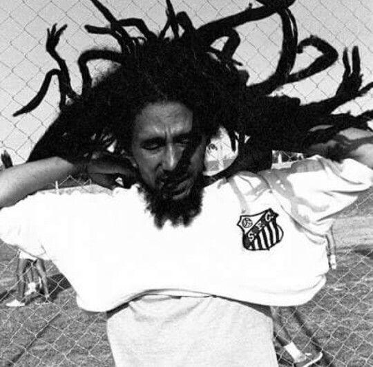 Bob Marley wearing a Santos Football Club shirt Brazil 1980