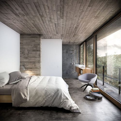 bedroom designed with nature materials